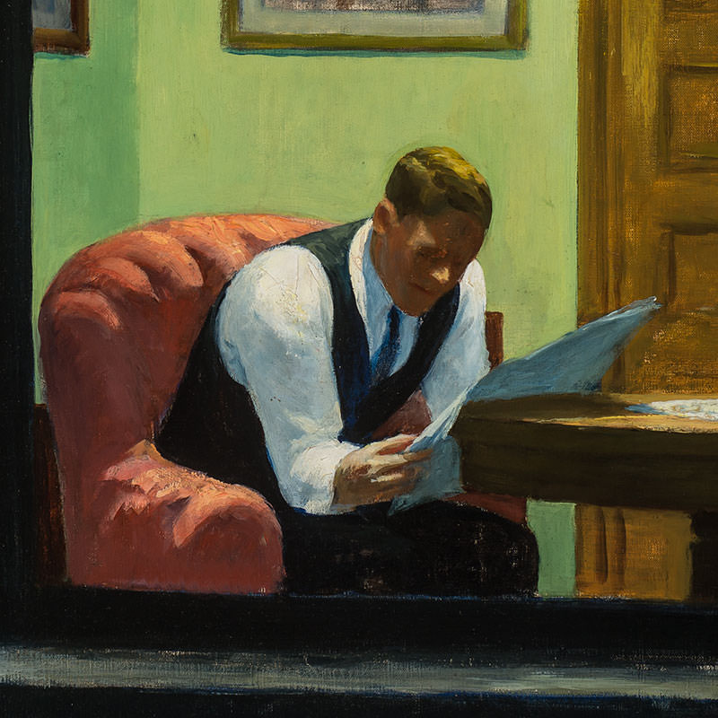 Detail of Room in New York by Edward Hopper