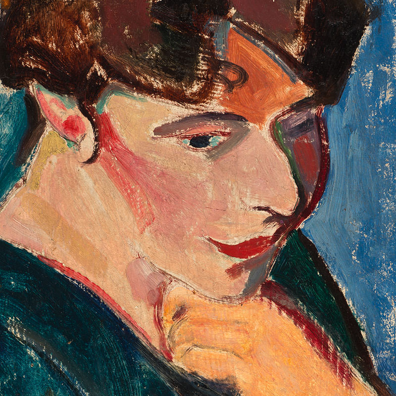 Detail of Woman with Blue Background (Portrait of a Woman) by Alfred Henry Maurer
