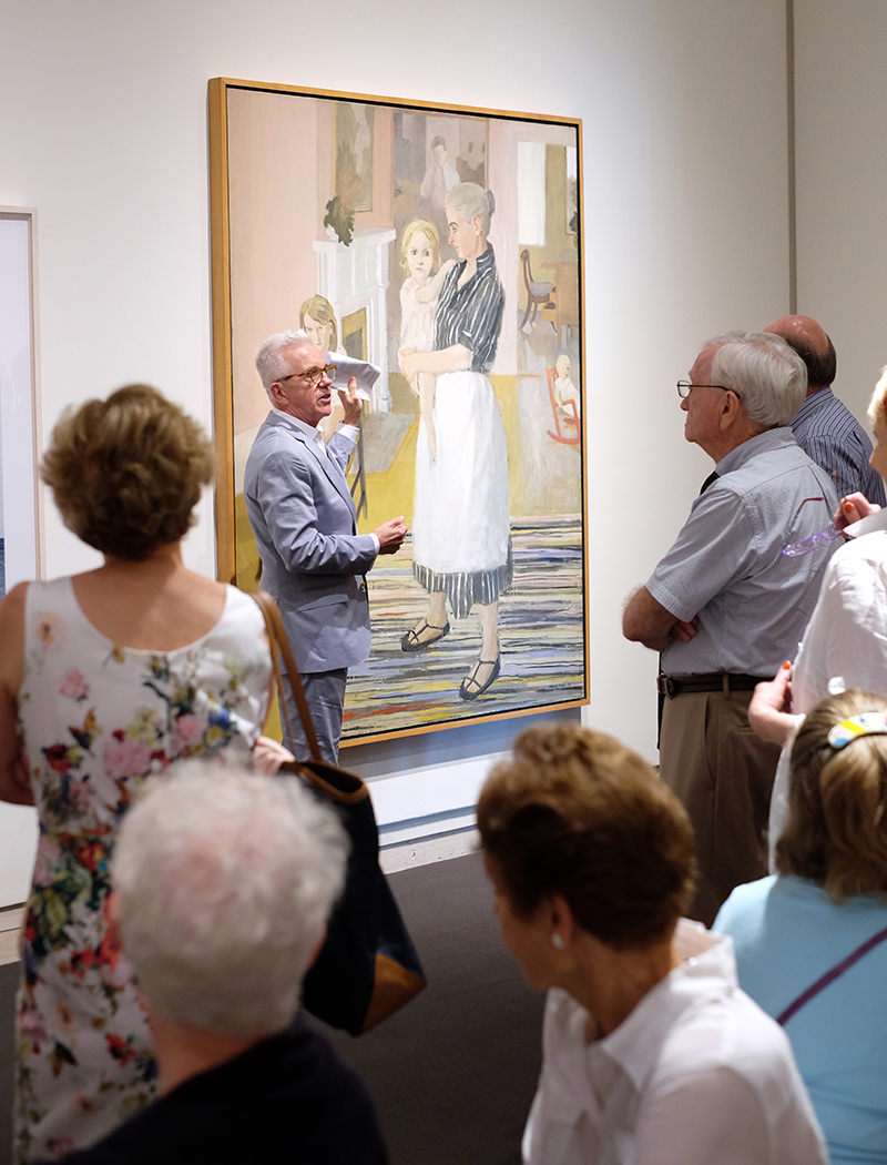 Wally Mason speaks during a walkthrough of the permanent collection galleries.